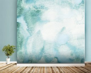 Abstract Watercolor in Green Wallpaper Wall Murals