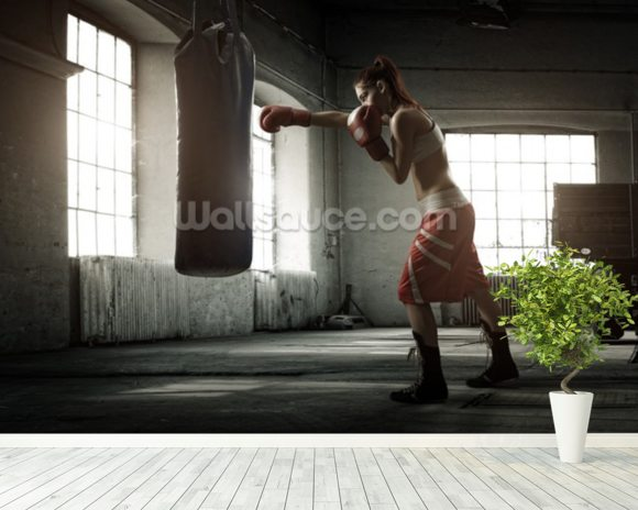 Boxing Workout mural wallpaper room setting