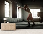 Boxing Workout mural wallpaper living room preview