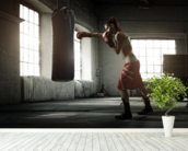 Boxing Workout mural wallpaper in-room view