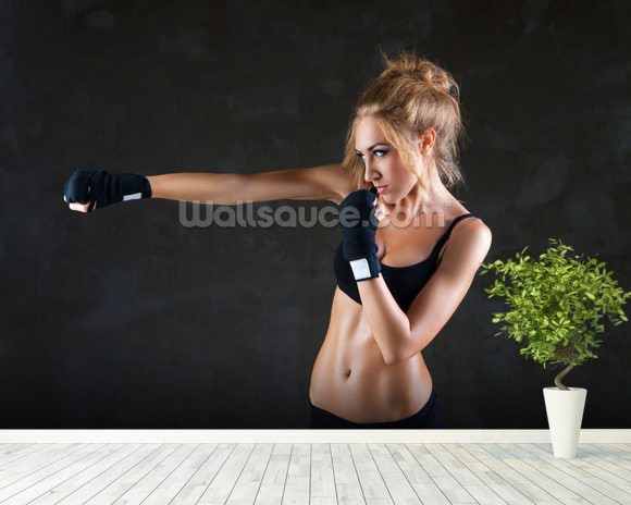 Female Boxer wallpaper mural room setting