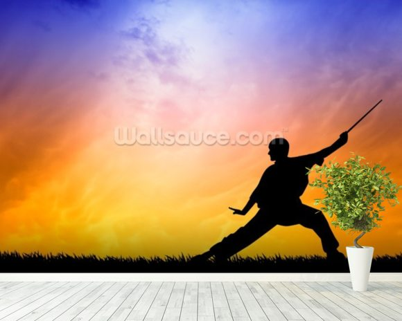 Shaolin Kung Fu Silhouette mural wallpaper room setting
