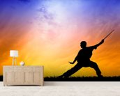 Shaolin Kung Fu Silhouette mural wallpaper living room preview
