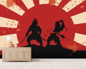Samurai wall mural living room preview