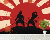 Samurai wall mural in-room view