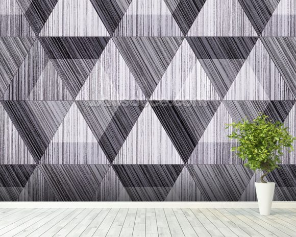 Black And White Polygon Wallpaper Wall Mural