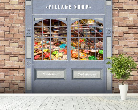 Village shop wall mural room setting