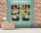 Groceries mural wallpaper living room preview