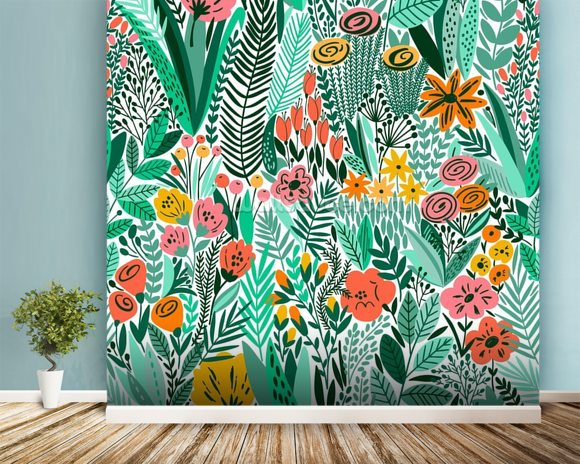 Tropical Floral Pattern Wallpaper Wall Mural