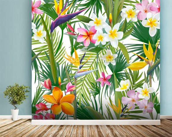 Tropical Palm Leaves And Flowers Wallpaper Mural Room Setting