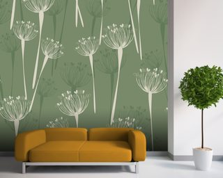 Cow Parsley Olive Mural Wallpaper Wall Murals