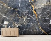 Grey with Gold Marble mural wallpaper living room preview