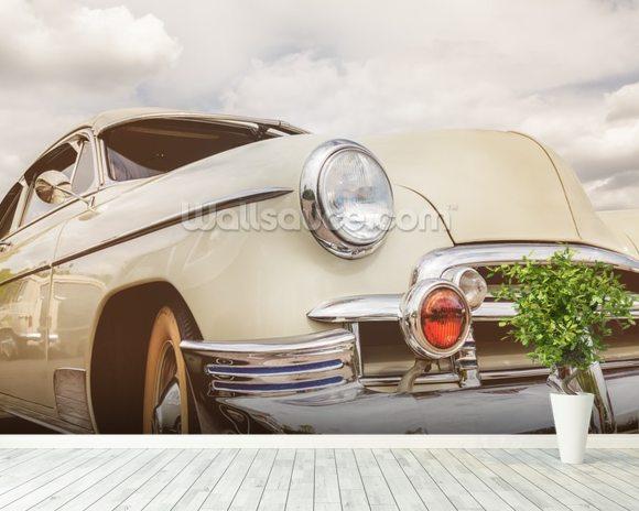 Front View Of Fifties American Car Wallpaper Mural Room Setting