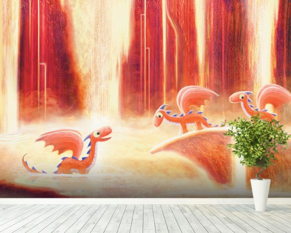 Dragons bath wallpaper mural by patrick brooks wallsauce for Dragon mural wallpaper