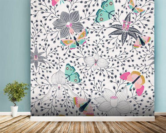 Butterflies and orchids wall mural wallpaper wallsauce for Butterfly mural wallpaper