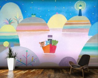 Lighthouse Lake Mural Wallpaper Wall Murals