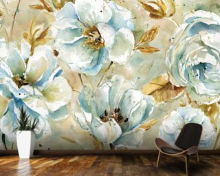 Watercolour Floral Rug Wallpaper Wall Murals