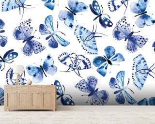 Blue Butterflies Wallpaper Wallpaper Wall Murals