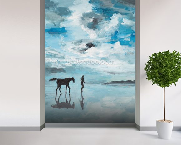Together On the Beach mural wallpaper room setting