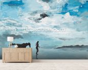Together On the Beach mural wallpaper living room preview