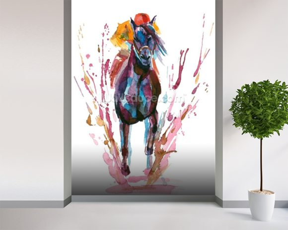 Racehorse and Rider mural wallpaper room setting