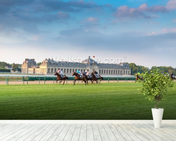 Horserace in Chantilly wallpaper mural room setting