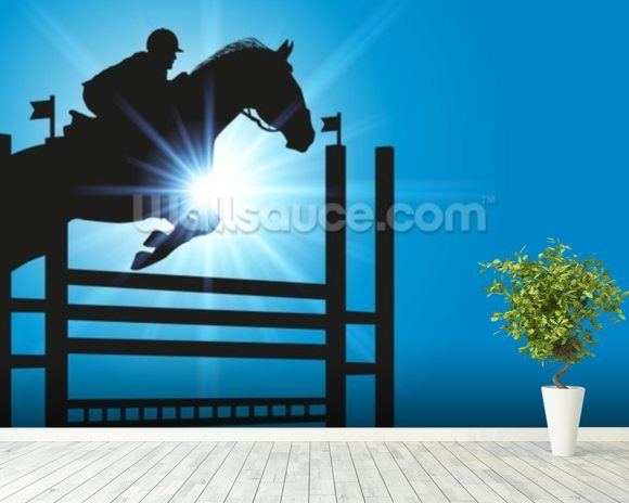 Show Jumper mural wallpaper room setting