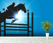 Show Jumper mural wallpaper in-room view
