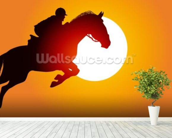 Sunset Jumping wall mural room setting