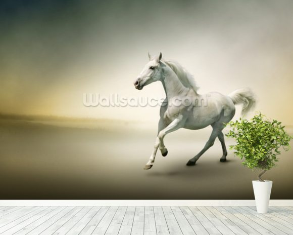 White Horse in Motion wallpaper mural room setting