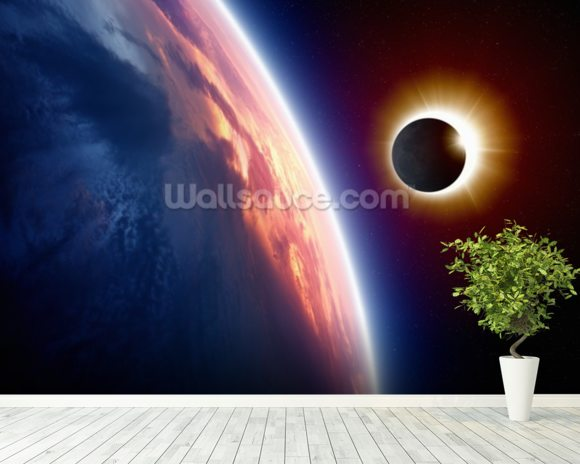 Sun Eclipse wall mural room setting