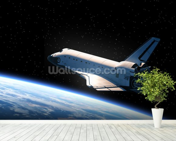 Space Shuttle Orbiting Earth Wallpaper Wall Mural Wallsauce USA