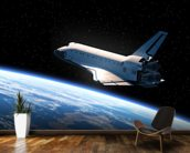 Space Shuttle Orbiting Earth wallpaper mural kitchen preview