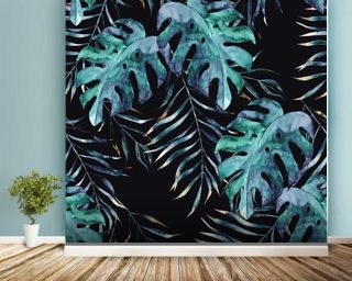 Black with Tropical Leaves Palm Wallpaper Wallpaper Wall Murals