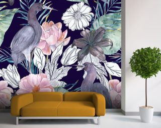 Birds and Dark Floral Wallpaper Wall Murals