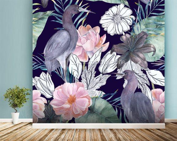 floral wallpaper mural  Birds and Dark Floral Wall Mural Wallpaper | Wallsauce USA