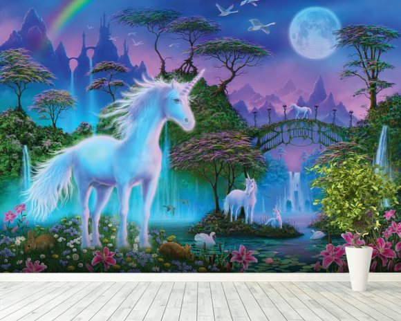 Unicorn Bridge Wall Mural Unicorn Bridge Wallpaper Wallsauce UK