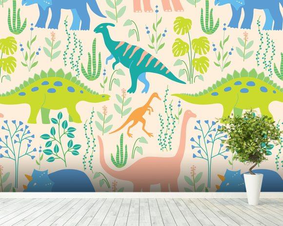 Dinosaurs wall mural dinosaurs wallpaper wallsauce usa for Dinosaur mural wallpaper