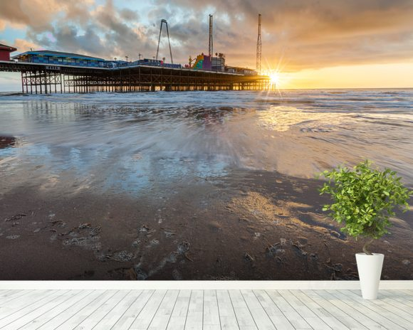 Blackpool Pier Sunset Wall Mural & Blackpool Pier Sunset
