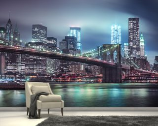 Bright Blue Brooklyn Bridge Wallpaper Wall Murals