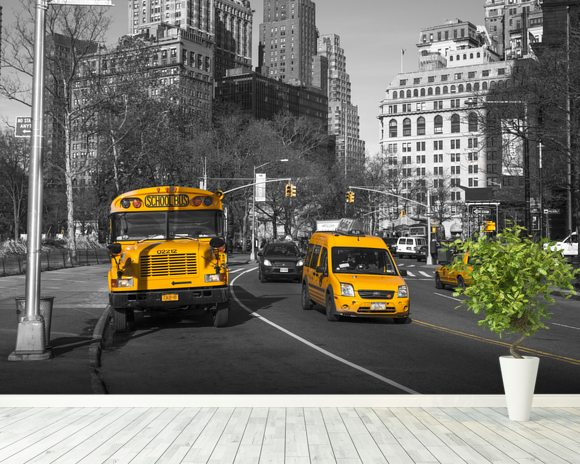New York School Bus and Taxis Wall Mural New York School Bus and