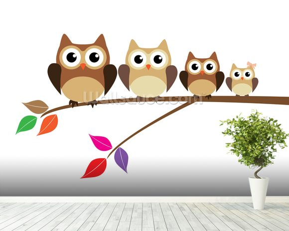 Owl Family wallpaper mural room setting