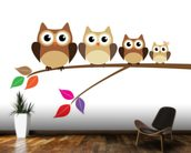 Owl Family wallpaper mural kitchen preview