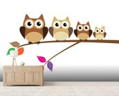Owl Family wallpaper mural living room preview