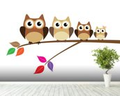 Owl Family wallpaper mural in-room view
