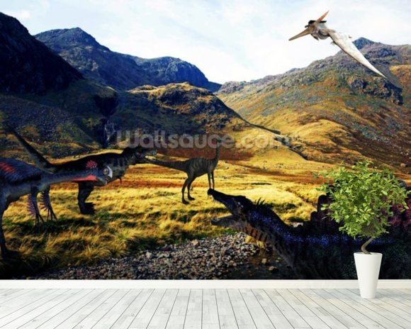 Dinosaurs wallpaper wall mural wallsauce usa for Dinosaur mural wallpaper