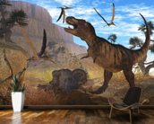 Tyrannosaurus Meeting wall mural kitchen preview