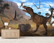 Tyrannosaurus Meeting wall mural living room preview