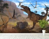 Tyrannosaurus Meeting wall mural in-room view