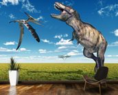 T-Rex and Pteranodon Battle wallpaper mural kitchen preview